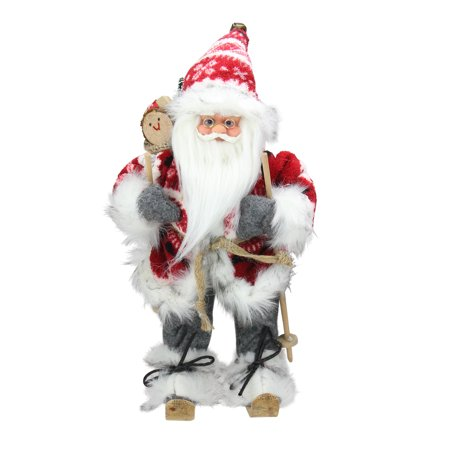 """13"""" Alpine Chic Red and Gray Snowflake Skiing Santa with Gift Bag Decorative Christmas Figure"""