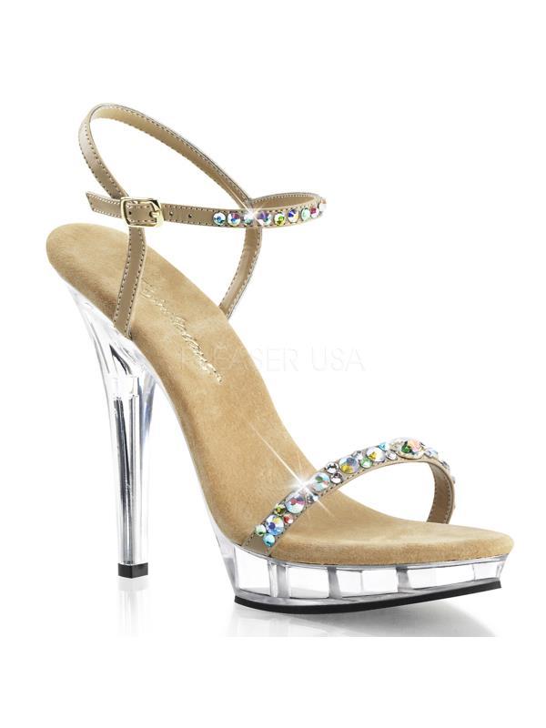 "LIP131/TPPU/C Fabulicious Shoes 5"" Lip Taupe Pu/ Clr Size: 5"