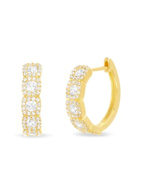 308210f07 Product Image Inspired by You Round Prong Set Cubic Zirconia Hoop Bridal  Halo Earring for Women in Yellow