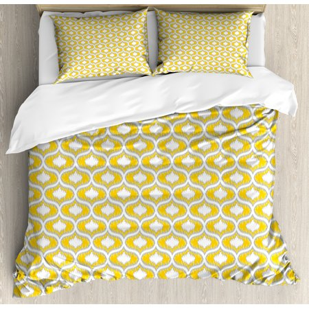 Ikat Duvet Cover Set, Vintage Ethnic Camouflage Style Pattern Symmetrical Design in Summer Colors, Decorative Bedding Set with Pillow Shams, Grey Yellow White, by Ambesonne ()