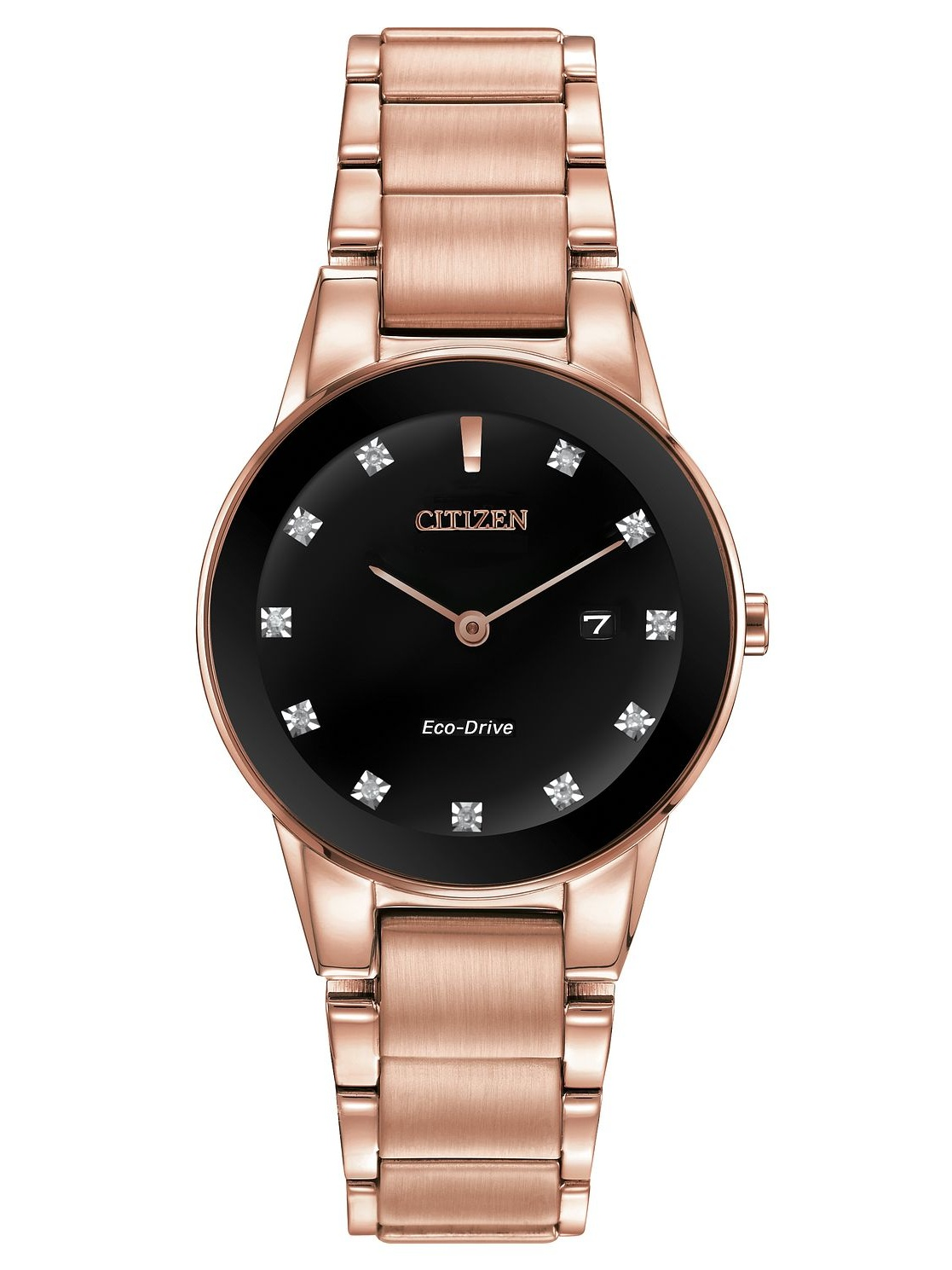 Citizen Women's Eco Drive Axiom GA1058-59Q Pink Gold-Tone Stainless Steel Bracelet with a Black Diamond Accented Dial Watch