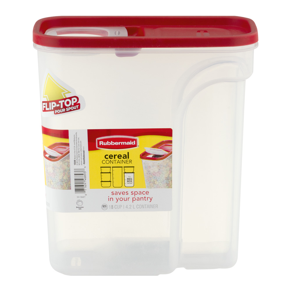 Rubbermaid 18 Cup Flip Top Cereal And Food Storage Container, Red