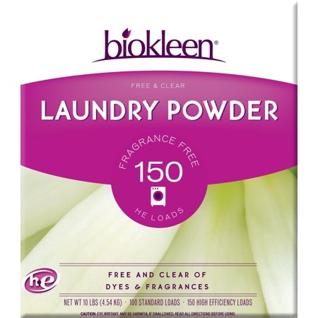 Biokleen Laundry Detergent Powder, Concentrated, Eco-Friendly, Non-Toxic, Plant-Based, No Artificial Fragrance or Preservatives, Free & Clear, Unscented, 10 Pounds - 150 HE Loads/100 Standard Loads 10