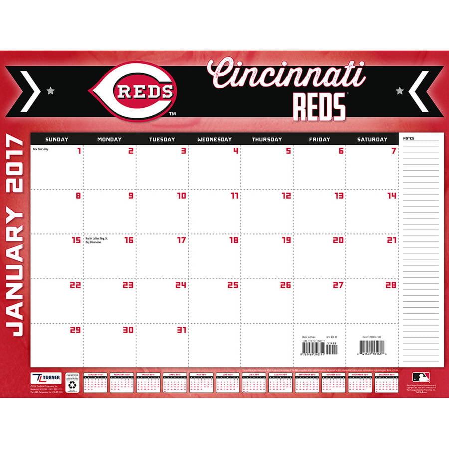 "... Sports 2017 22"" x 17"" Desk Calendar, Cincinnati Reds - Walmart.com"