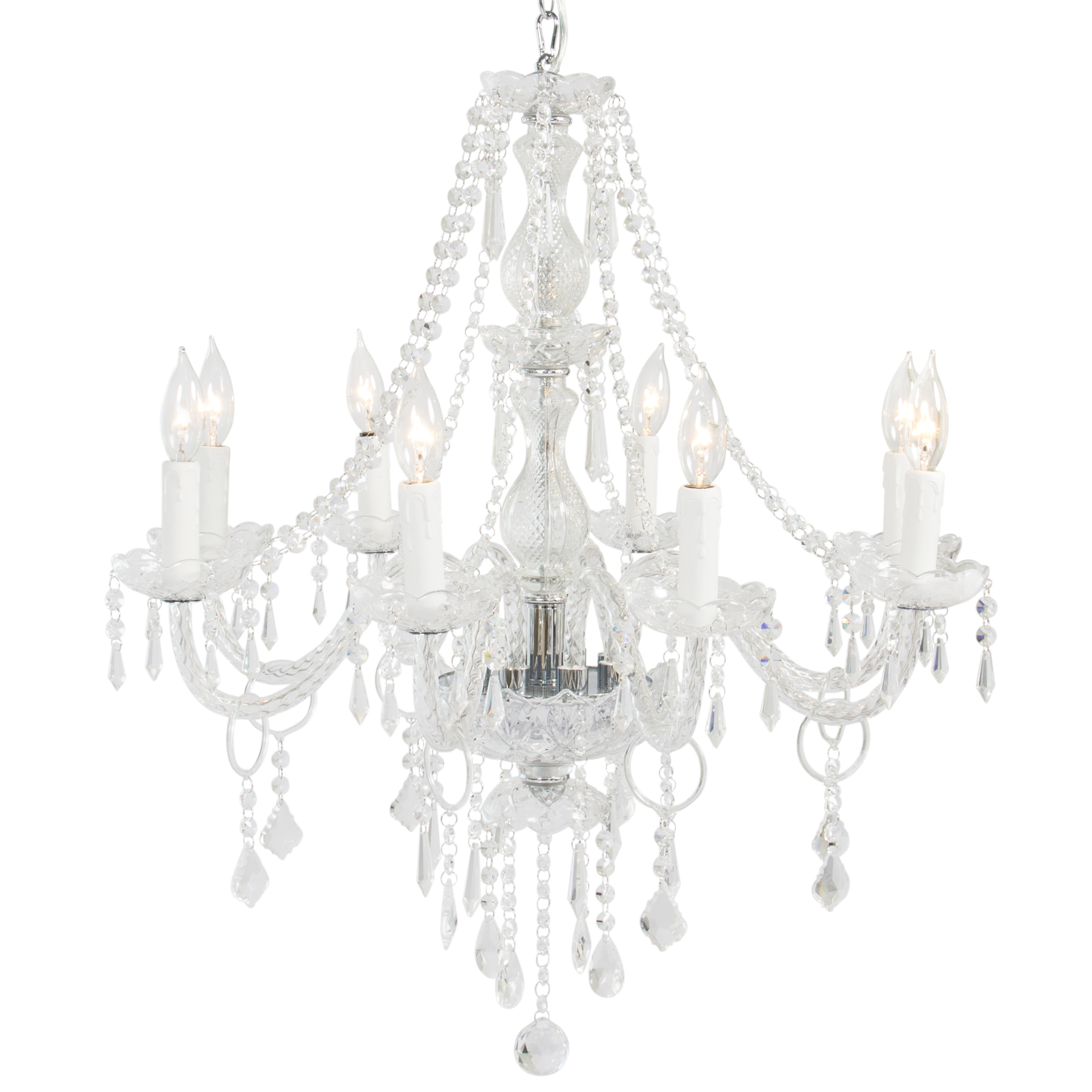BCP Crystal Chandelier 8 Lights Pendant Glass Ceiling Lamp Center Lighting by SKY
