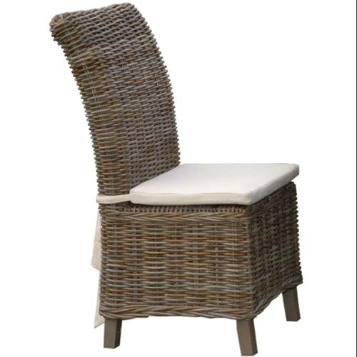 Samurai Rattan Indoor-Outdoor Dining Chair w Cushion - 2 Pc Set