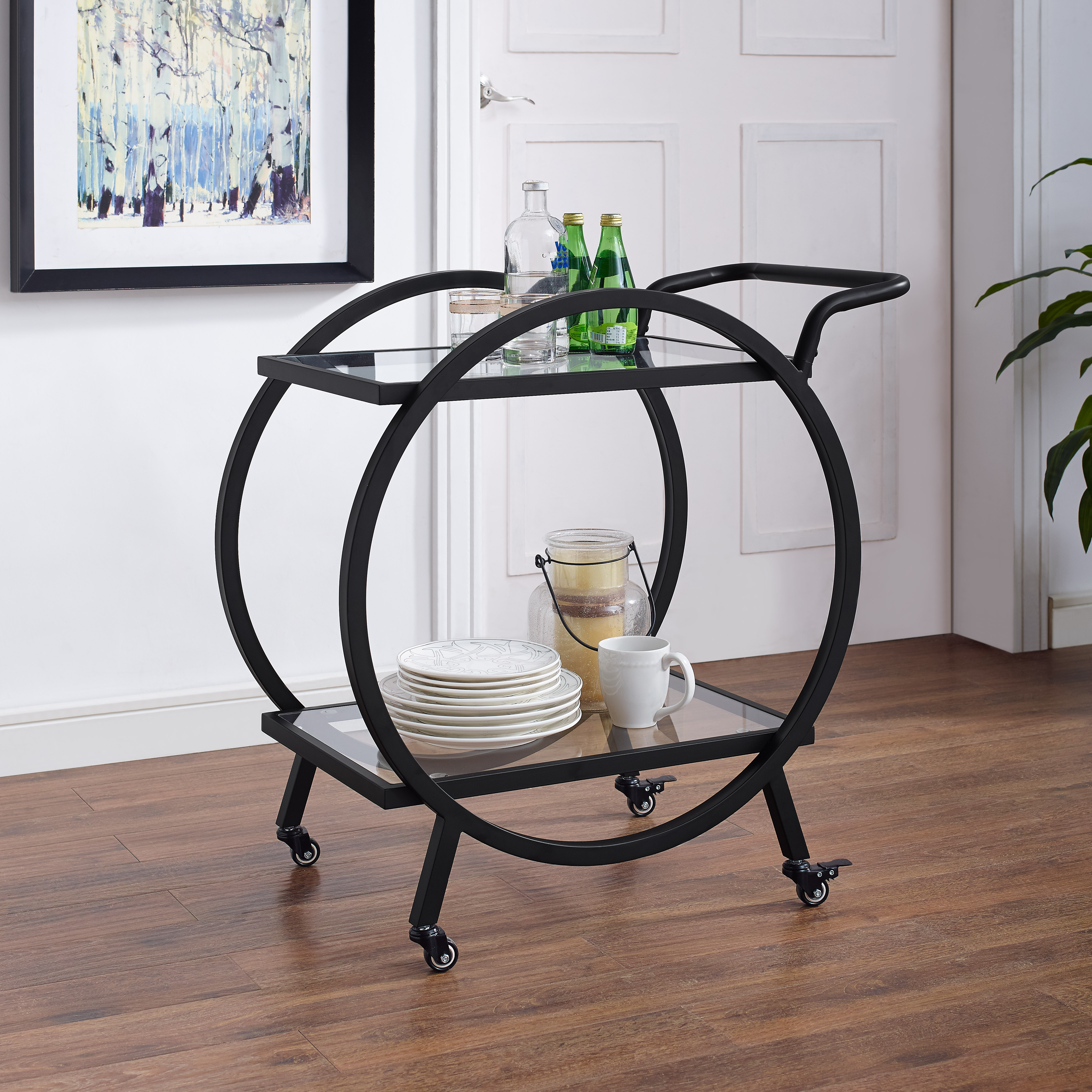 "Manor Park 32"" Modern Contemporary Round Frame Serving Bar Cart - Black"