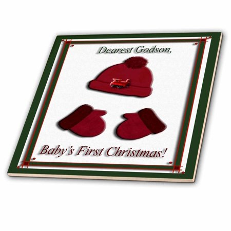 3dRose Red Cap and Mittens Babys First Christmas Godson Train Ceramic