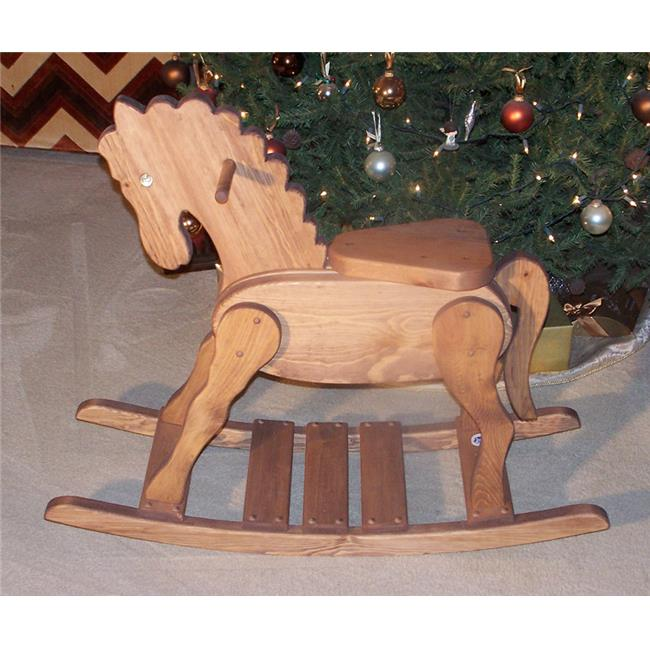 THE PUZZLE-MAN TOYS W-2211 Wooden Rocking Horse - New Classic Design - Hand Rubbed with a Brown Stain & Natural Oil