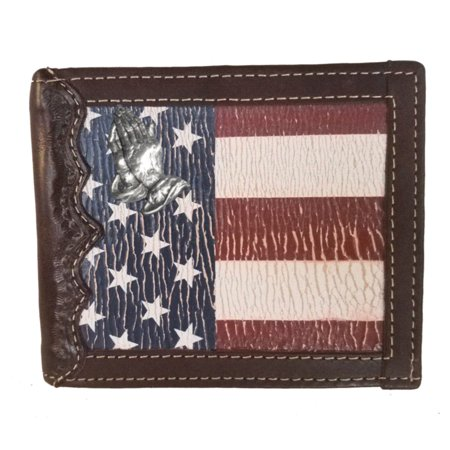 Custom Praying Hands, Bi-fold Wallet with a Distressed United States Flag background