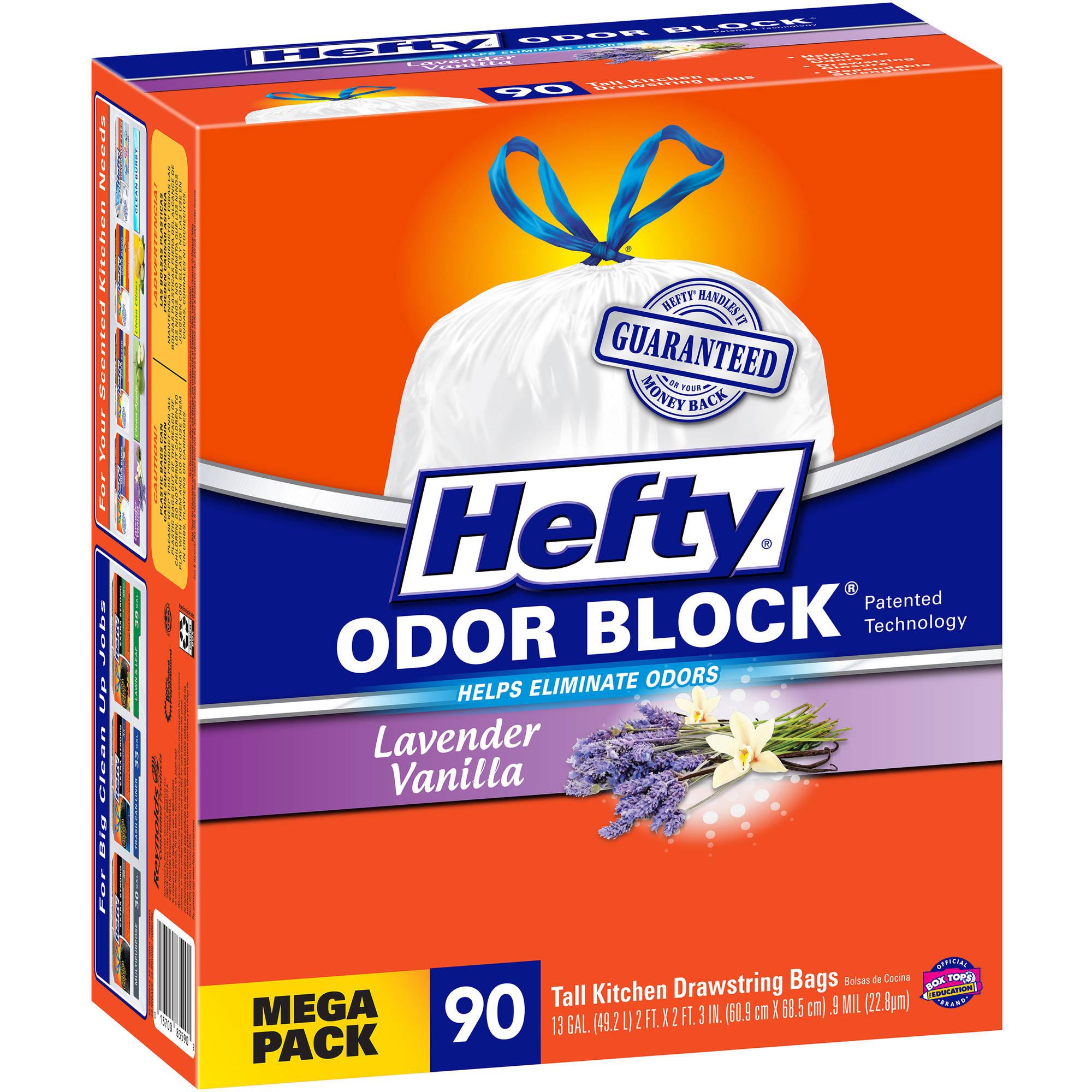 Hefty Odor Block Lavender Vanilla Tall Kitchen Drawstring Bags, 13 gallon, 90 count