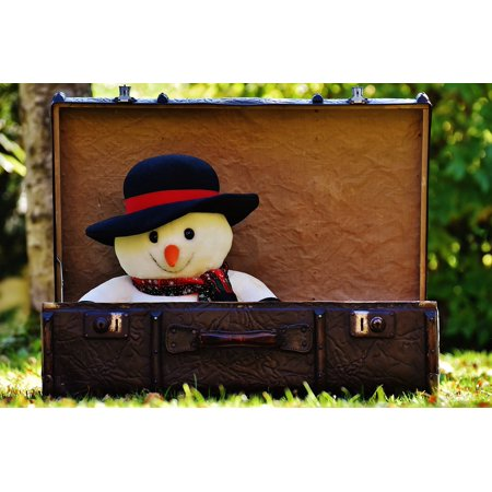 LAMINATED POSTER Send Away Snow Man Luggage Antique Winter Ade Poster Print 24 x 36