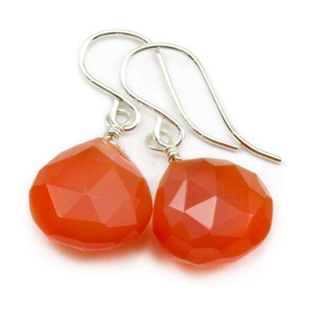 Carnelian Earrings Orange Faceted Cut Heart Shape Teardrop Sterling Silver Spyglass Designs