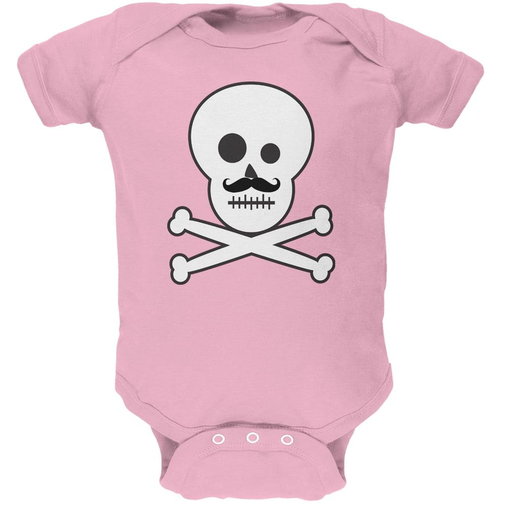 Skull and Crossbones Mustache Pink Baby One Piece