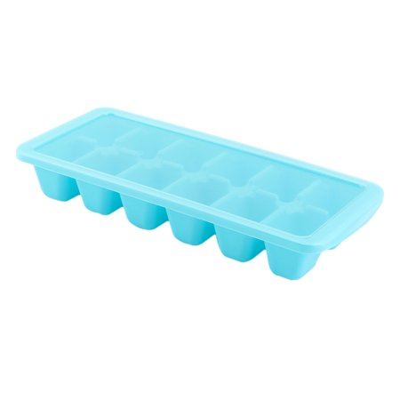 Plastic 12 Compartment Diy Juice Popsicle Sherbet Ice Cube Tray Mold Sky Blue
