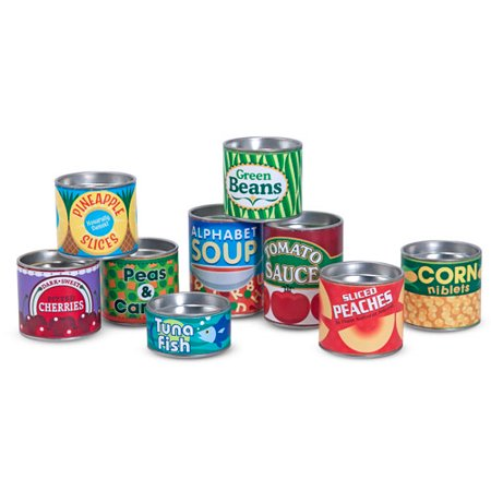 (Melissa & Doug Let's Play House! Grocery Cans Play Food Kitchen Accessory, 10 Stackable Cans with Removable Lids)