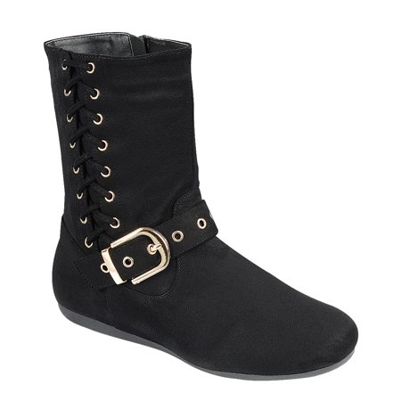 FN87 Women's Side Zipper Ankle Strap Buckle Mid Calf Boots