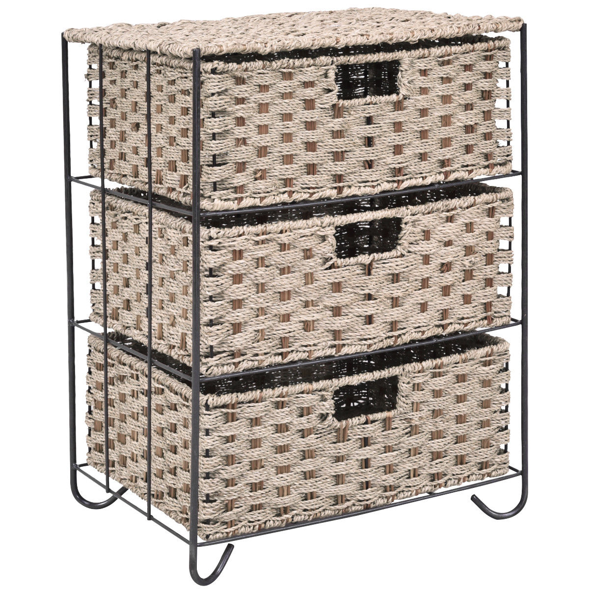 Costway Drawer Storage Unit 3 Rattan Wicker Baskets Bin Chest Tower Rack Organizer Shelf