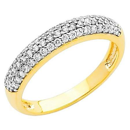 Jewelry 14k White Gold 1/2ct TGW Round-cut Diamonette 3-Row Wedding Band - image 1 of 1