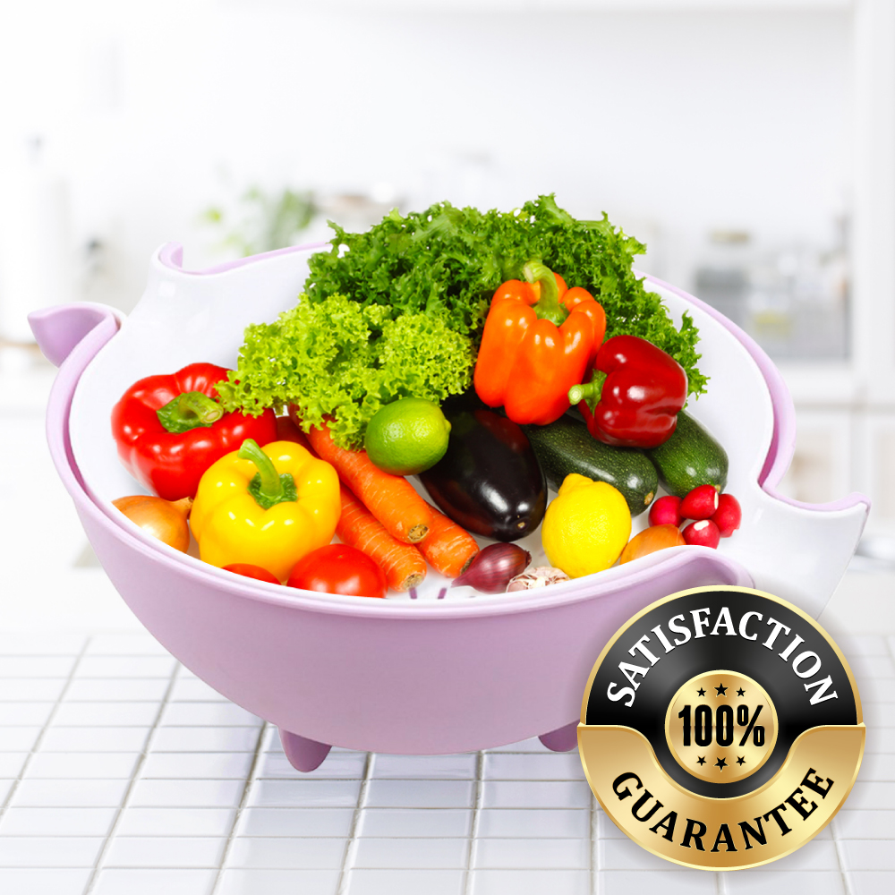 Eutuxia 2-in-1 Large Colander and Bowl. Strainer for Cleaning, Washing, and Mixing Salads, Vegetables, Fruits, Beans, Pasta, Noodles. Double Layered Multifunction 280 Rotatable Drain Basin & Basket