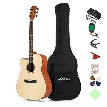 Donner Left Handed Acoustic Guitar Cutaway DAG-1CL 41 inch Full-size Beginner Guitar Package & Tuner String Strap