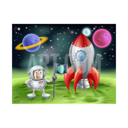 Cartoon Astronaut and Vintage Rocket Print Wall Art By -