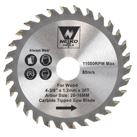 "neiko table saw blades for wood carbide tipped 4-3/8"" inch x 30 teeth"