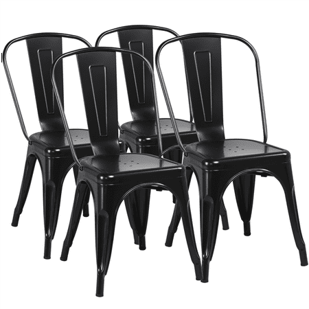 Topeakmart 18 Inch Classic Iron Metal Dinning Chair Bistro Cafe Side Barstool Bar Chair Coffee Chair Indoor-Outdoor Use Black (Set of 4) Cafe Aluminum Bar Stool