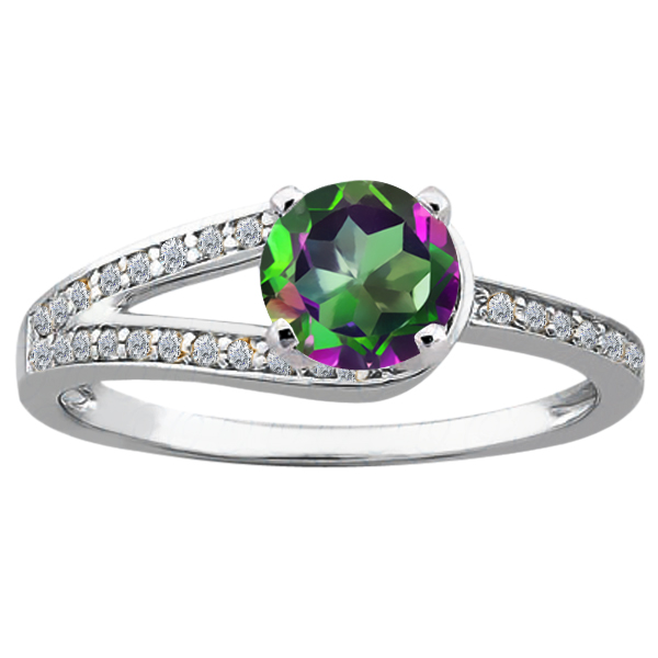 1.41 Ct Round Green Mystic Topaz 925 Sterling Silver Ring