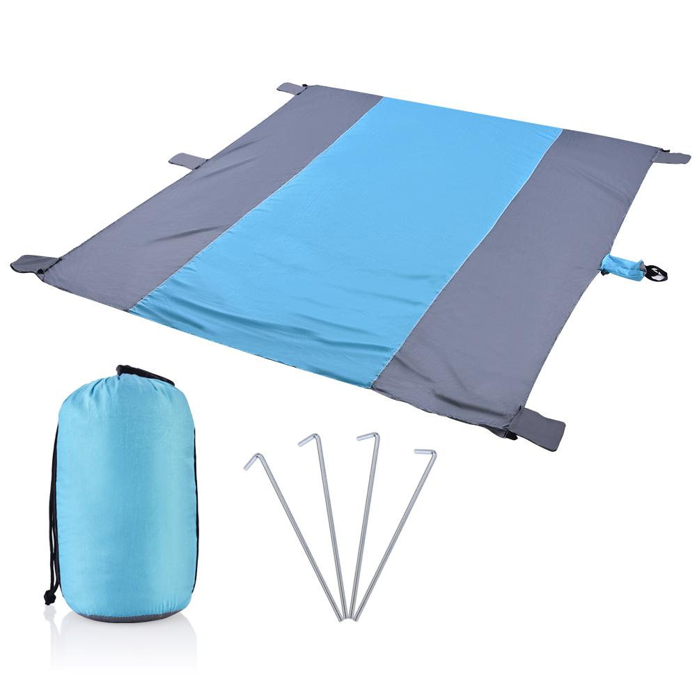 Sand Free Mat HURRISE 7 inch× 9 inch Huge Nylon Water Resistant Picnic Blanket with 4 Stakes Outdoor beach blanket,Picnic Blanket