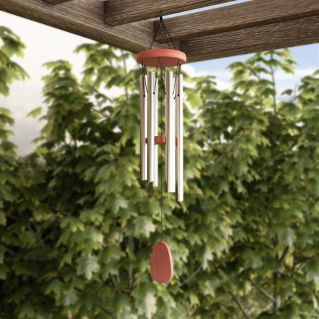 "- Metal and Wood Wind Chime- 28"" Tuned Metal Wind Chimes with Silver Finish and Soothing Tone For Garden, Patio, Home or Outdoor Decor by Pure Garden"
