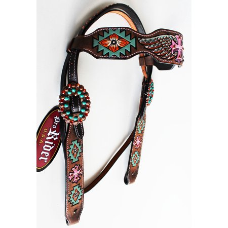 De Leather Bridle (Horse Show Bridle Western Leather Headstall Rodeo Saddle Tack Cross 76203HB )
