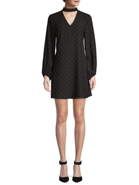 Scoop Blouson Sleeve Keyhole Mini Dress Dot Print Women's