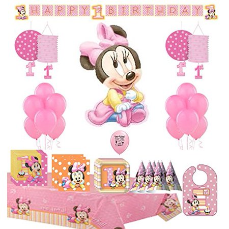 Minnie Mouse For Birthday Party (Minnie Mouse First 1st Birthday Party Supply and Balloon)