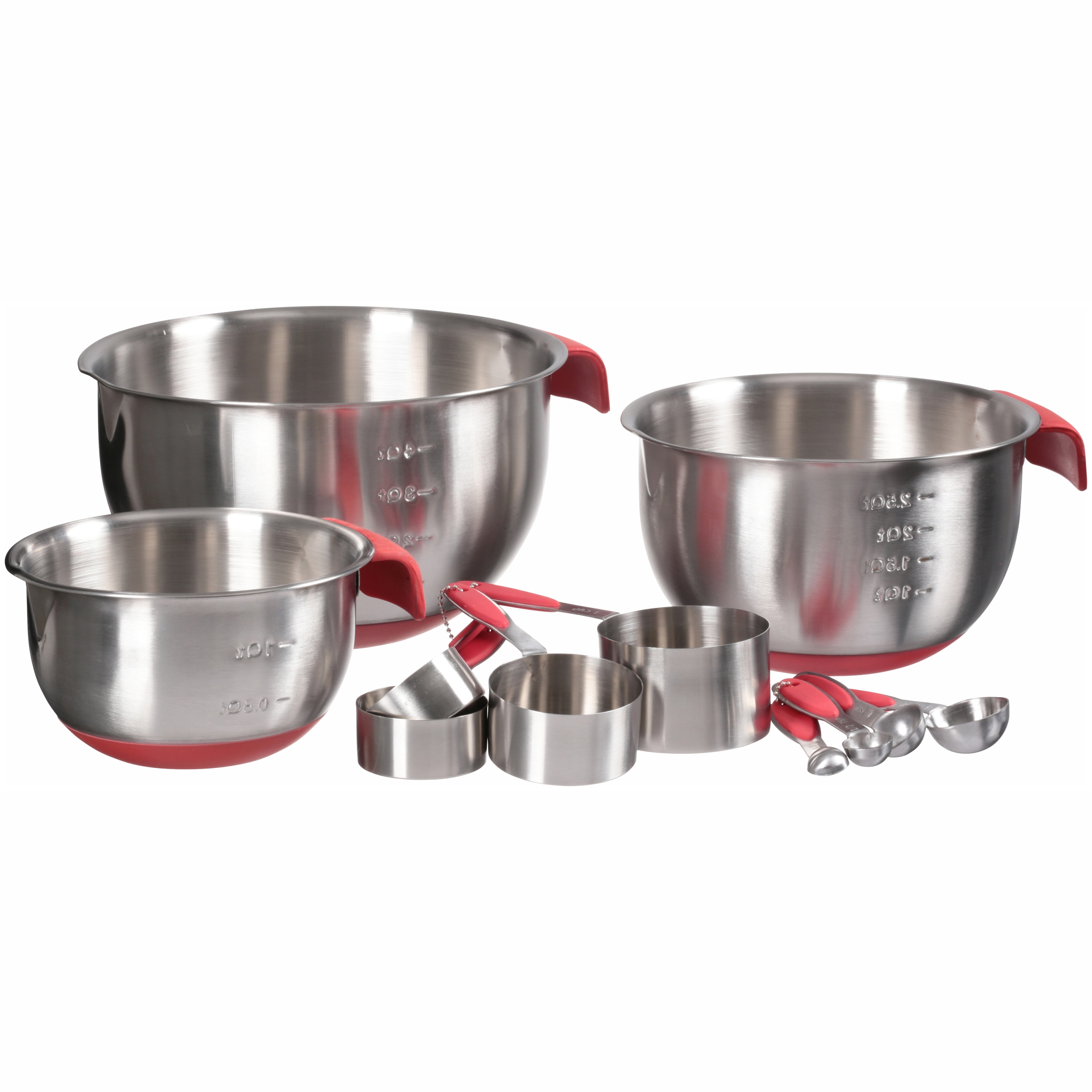White Apron Stainless Kitchen Set Steel Bowls, Measuring Cups, & Measuring Spoons Variety Pack 11 pc Box