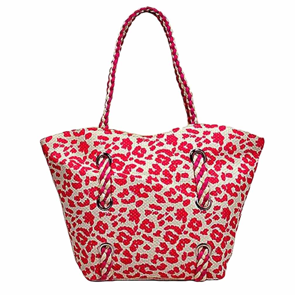Hot Pink & White Leopard Print Beach Bag - Walmart.com