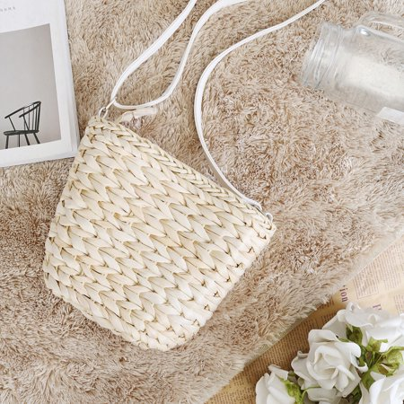 Women Straw Beach Bag Handwoven Rattan Handbags Crossbody Bag Tote Summer  - image 5 de 6