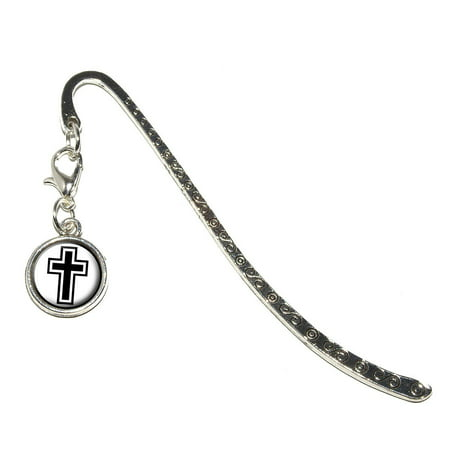 Cross - Christian Religious Metal Bookmark with Charm - Christian Halloween Bookmarks