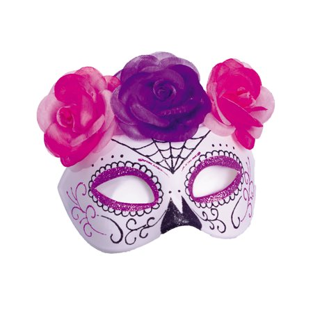 Dia De Los Muertos Womens Adult Red Black Half Mask Accessory ()