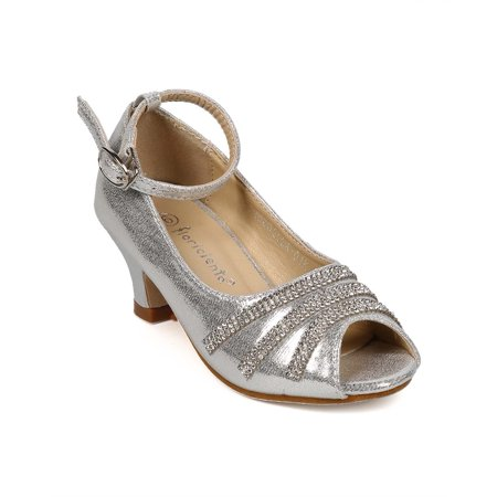Cinderella Shoes For Kids (New Girl Floricienta Cinderella-01K Metallic Peep Toe Jeweled Ankle Strap)