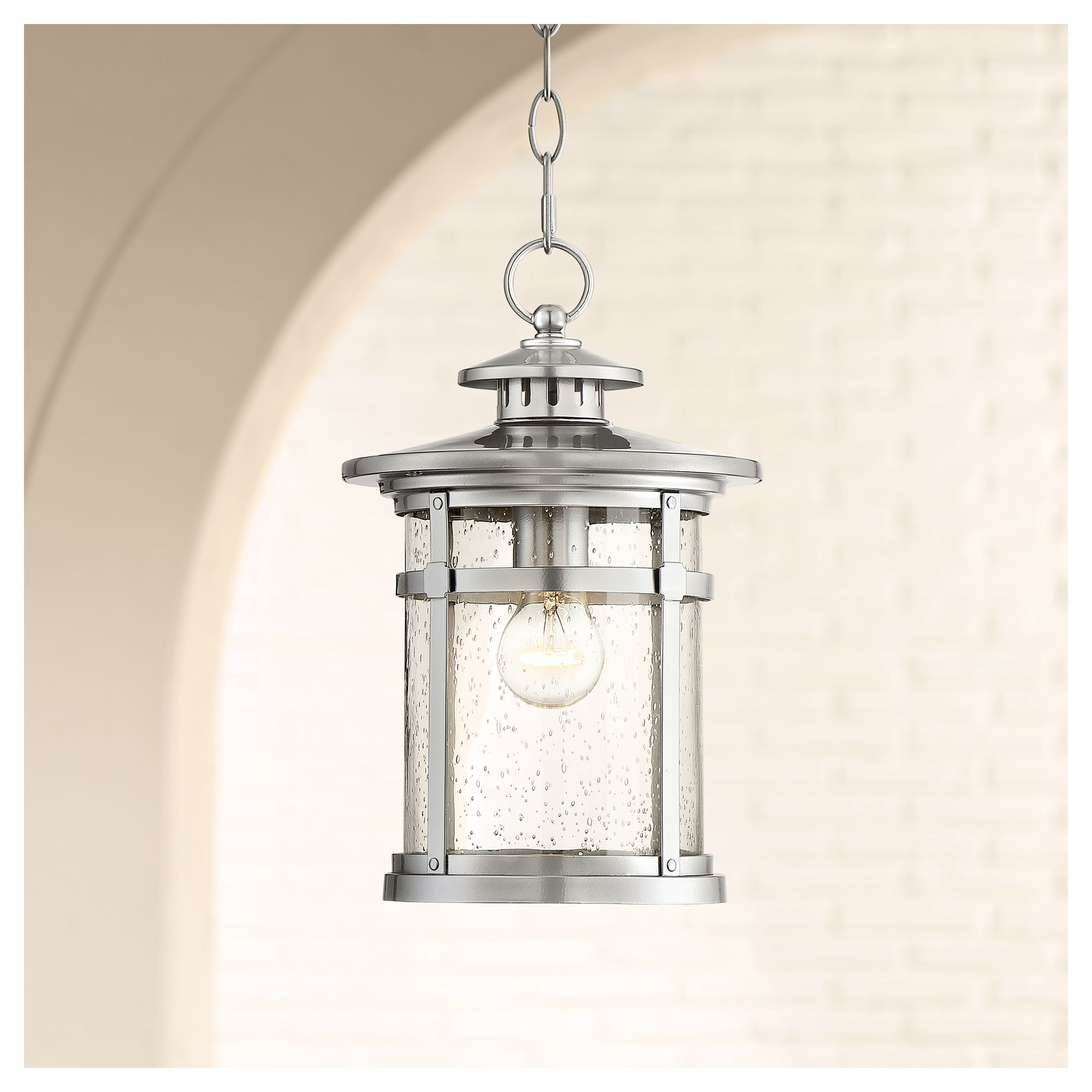 """Franklin Iron Works Callaway 13 1/2"""" High Chrome Outdoor Hanging Light"""
