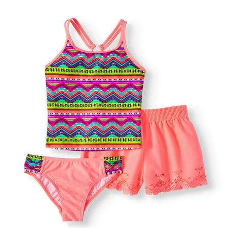 Girls' Cabo Chevron 3 Piece Swim - Swim Suit Girls