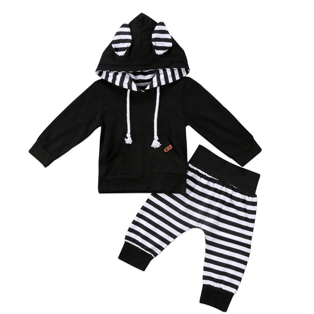 Newborn Kids Baby Girl Stripe Hooded T-shirt Tops+Pants Leggings 2Pcs Outfits