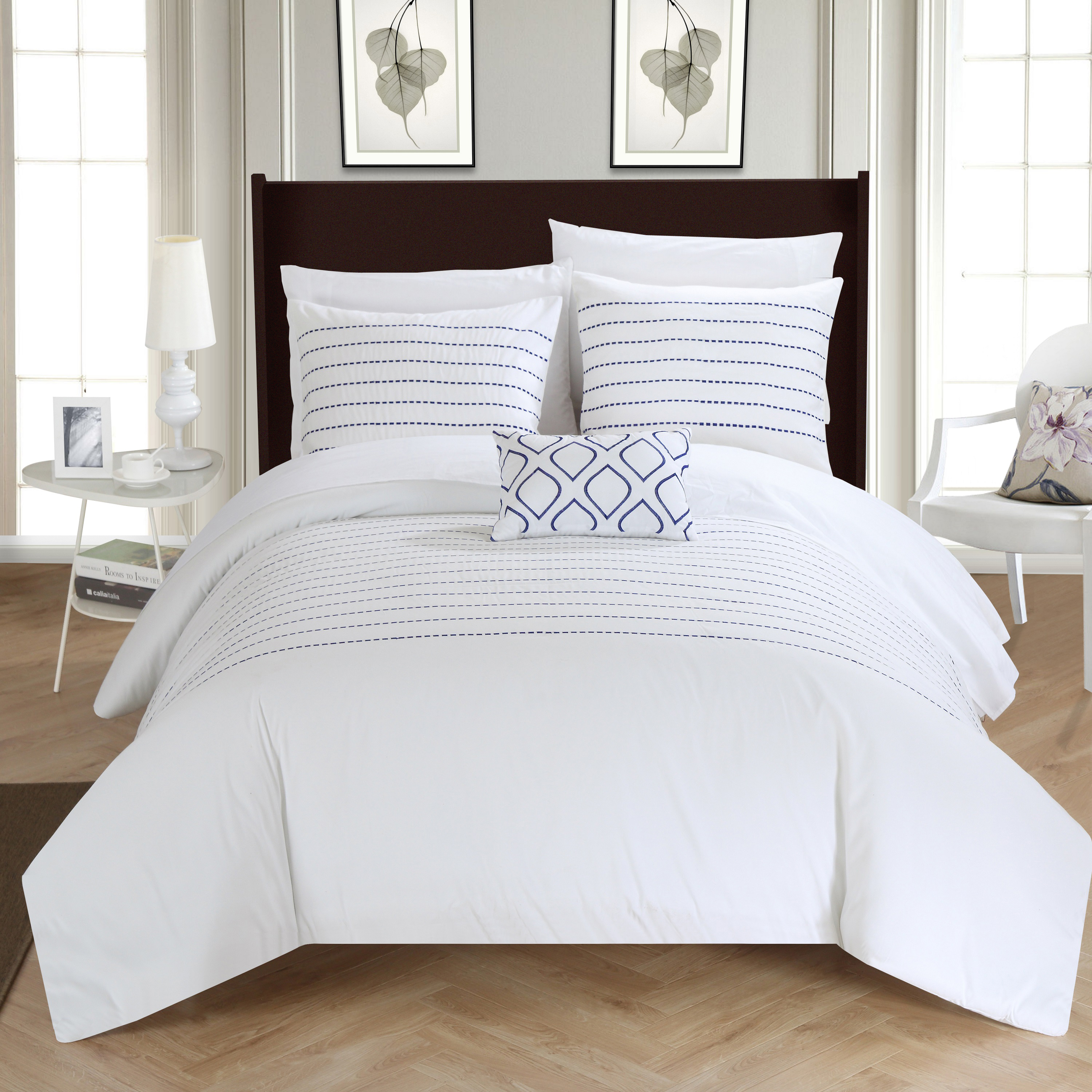 chic home 4piece kingston super soft microfiber stitch embroidered king duvet cover set white