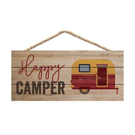 Hanging Wood Sign - HAPPY CAMPER Distressed Wood Hanging Sign, 10
