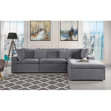 Classic Large Velvet Sectional Sofa, L Shape Couch with Wide Chaise (Dark  Grey)