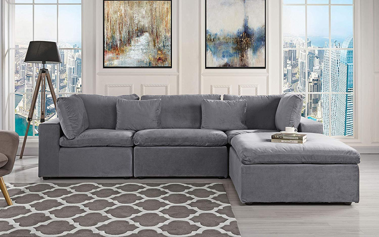 Beau Classic Large Velvet Sectional Sofa, L Shape Couch With Wide Chaise (Dark  Grey)