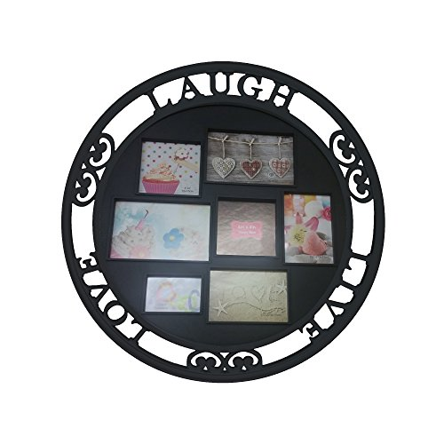Round Family Dimensional Collage Picture Frame 7 Openings Holds 7 Photos 3.5x5- 4x4 and 4x6 Photo, Standard size Live Love and Laugh Round Family Frame Collage round black photo keeper