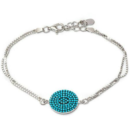 3 Stone Tanzanite Bracelet (.925 Sterling Silver Bracelet with Nano Turquoise)