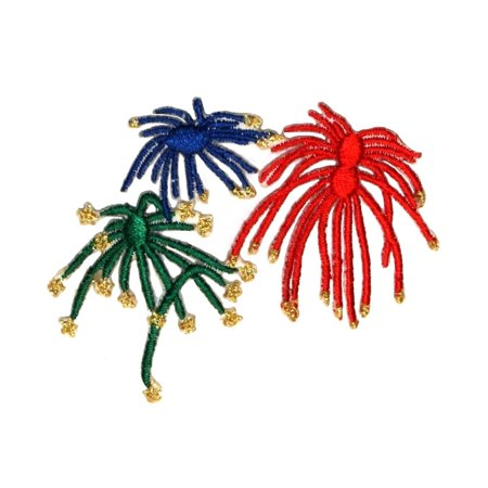 ID 1024 Firework Multicolor Explosion Patch Rocket Embroidered Iron On (Rocket Applique)